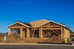 Wood Framing Of New House. Wood Framing & Roofing Materials For New Home Under Construction stock photography