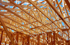 Wood framing on new house under construction Royalty Free Stock Photo