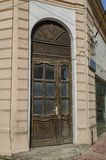 Wood front door of ancient house in the Ruse town Royalty Free Stock Photography