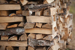 Wood fuel for energy industry. Firewood of birch for the energy industry Royalty Free Stock Photography