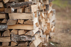 Wood fuel for energy industry. Firewood of birch for the energy industry Royalty Free Stock Photos
