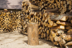 Wood for fuel and for fireplaces. Royalty Free Stock Photos