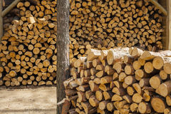 Wood for fuel and for fireplaces. Royalty Free Stock Photo
