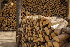 Wood for fuel and for fireplaces. Royalty Free Stock Image