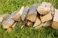 Wood for fuel and for fireplaces. Royalty Free Stock Images