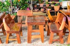 Wood furniture in market fair Stock Photos