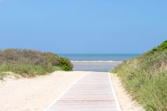 Wood gångbana till stranden Royaltyfri Fotografi