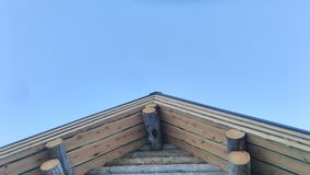 Wood gable. On blue sky Royalty Free Stock Images