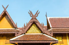 Wood gable roof on Thai temple Royalty Free Stock Photos