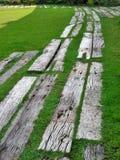 Designer wood garden pavement on grass lawn Stock Image
