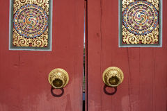 Wood gate Bhutan style Royalty Free Stock Photography