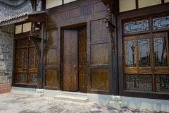 Wood gate of traditional building Royalty Free Stock Image