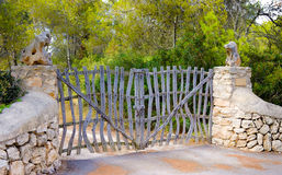 Wood gates in forest, Mallorca, Spain Stock Photos