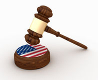 Wood Gavel with Usa Flag Stock Photo