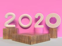 Wood geometric shape 2020 type/text number pink wall scene 3d rendering vector illustration