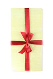 Wood gift box bow with red ribbin Royalty Free Stock Images