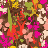 Wood gifts berryes and flowers seamless pattern Royalty Free Stock Image