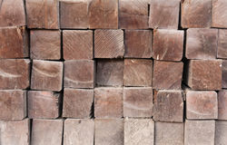 Wood girder  from end close up Stock Photos
