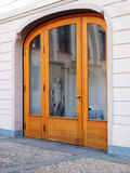 Wood & glass arch door Stock Photo