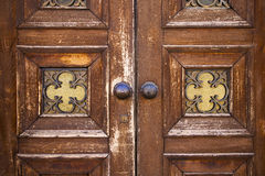 Wood  glass door caronno varesino varese Royalty Free Stock Image