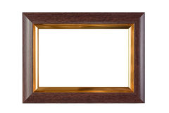 Wood and gold frame. Isolated stock photos