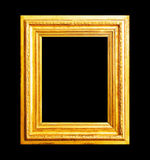 Wood gold frame isolated on black Royalty Free Stock Photography