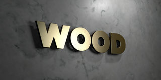 Wood - Gold sign mounted on glossy marble wall  - 3D rendered royalty free stock illustration Stock Images