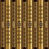 Wood And Gold Vertical Arabesque Motif Stock Photography