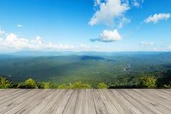 Wood golv mot landskapsommar Royaltyfri Foto