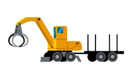 Wood grab material handler minimalistic icon. Wheeled timber handler with trailer minimalistic icon isolated. Forestry equipment isolated vector. Heavy equipment Stock Image