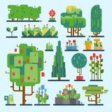 Wood grafisk illustration för rolig för tecknad filmfantasiform för träd för uppsättning för vektor för natur miljö för beståndsd stock illustrationer