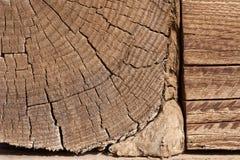 Wood grain. Closeup of interlocking wood beams in a Mongolian hut Stock Photo