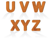 Wood grain texture characters from U to Z Stock Images