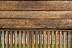 Wood,grass and blue sky background Royalty Free Stock Photography