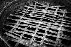 Wood grate grill Stock Photo