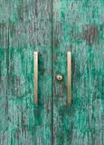 Wood green door Royalty Free Stock Photography