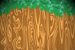 Wood and green leaves Royalty Free Stock Images
