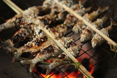 Wood Grilled Fish With Fork Royalty Free Stock Images