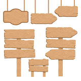 Wood Guidepost Decorative Icons Set Stock Images