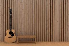 Wood guitar in wood plank room design in 3D rendering. Wood guitar in wood plank room design concept in 3D rendering Stock Photos