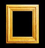 Wood guld- ram som isoleras på svart Royaltyfri Fotografi