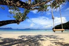 Wood gunga på stranden under bluesky Arkivfoton