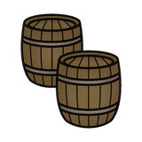 2 Wood Gunpowder Wine Beer Barrels. Two wood barrels with rings to hold supplies such as gunpowder, wine, or beer. Color illustration Stock Image
