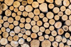 Wood hög, journaler Loggar väggen Trätegelplattabakgrundsdesign arkivfoton