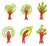 Wood-hand. Vector illustration - a set of abstract objects hands-trees stock illustration