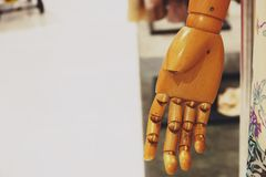 Wood hand female mannequin close-up royalty free stock photo