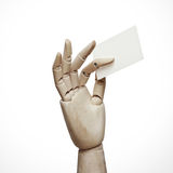 Wood hand holding business card Stock Images