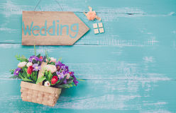 Wood hand made wedding Stock Photography