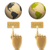 Wood hand press undo and save buttons earth Royalty Free Stock Photography