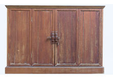 Wood handle style lock on shelf. Wood shelf and lock on wooden door interior royalty free stock photo